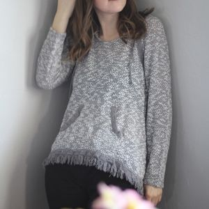 Grey Knit Hoodie with Fringe